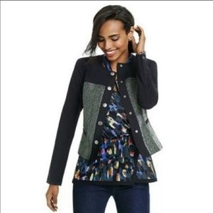 Cabi Mixed Media Snap Button Textured Jacket